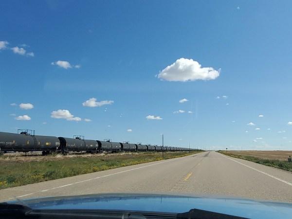 Oil rail cars.