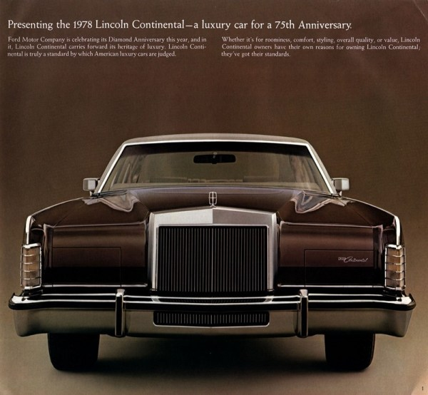 1978 Lincoln Continental Town Car brochure photo, as sourced from www.oldcarbrochures.com.