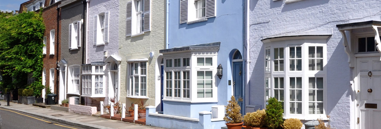 Brightly coloured houses in London