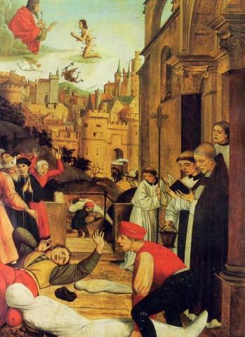 Saint Sébastien intercédant pour les pestiférés, par Josse Lieferinxe (1497-1499)