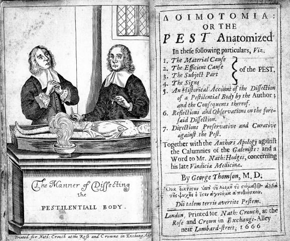 Loimotomia, ou le manuel de dissection des pestiférés, publié à Londres en 1666.