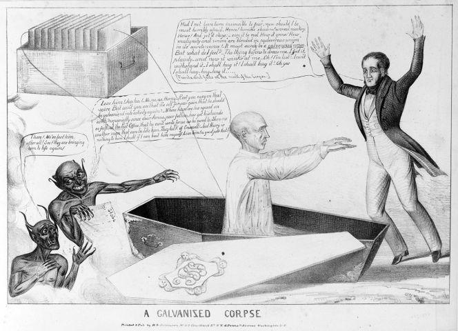 Caricature d'époque d'un mort galvanisé.