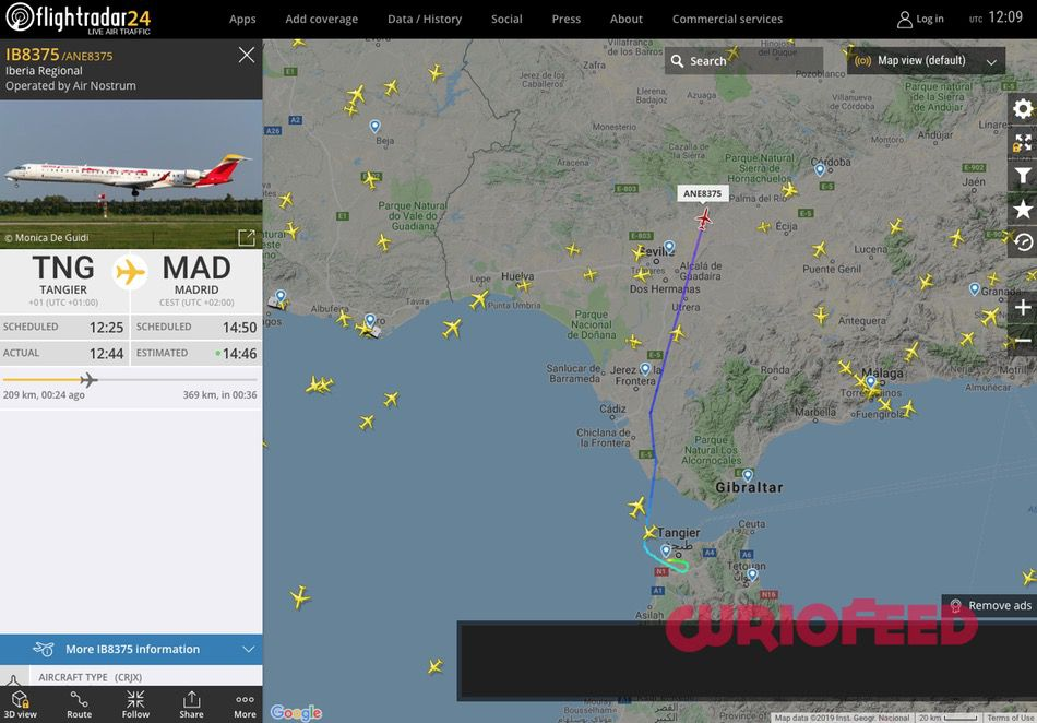captura de la web flightradar24.com