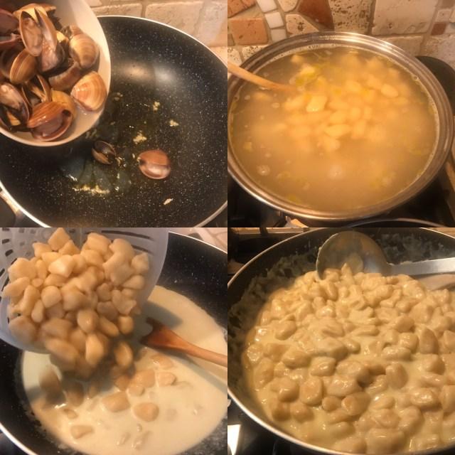 Preparazione cozze e condimento gnocchi