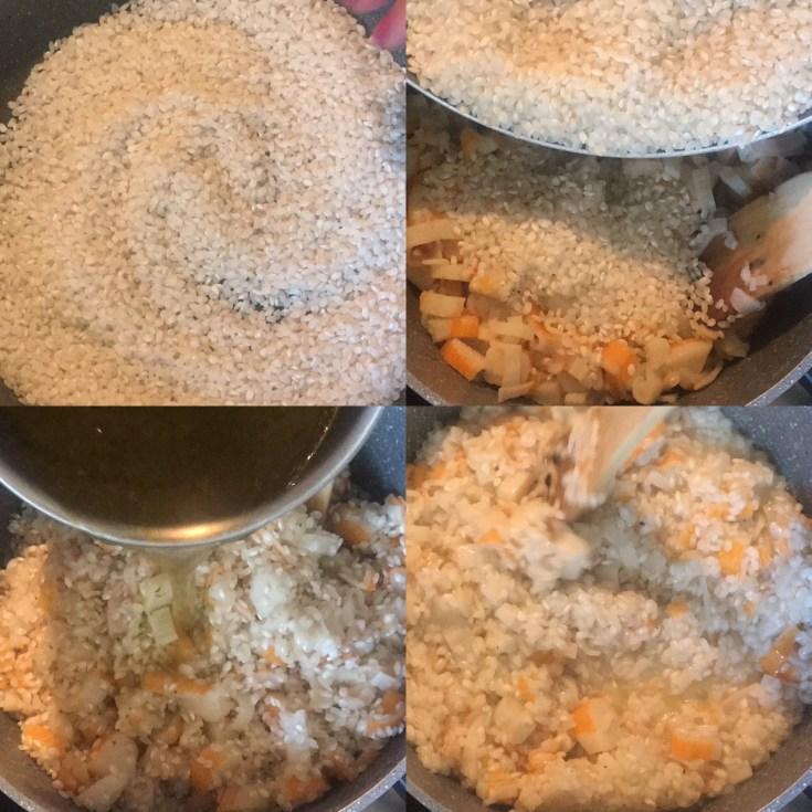 risotto con surimi e zucchine croccanti
