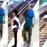 Sujeto empuja a trabajadora de limpieza a las vías del tren sin ninguna razón