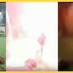 Rayo casi mata a niño que disfrutaba de la lluvia y jugaba con su mamá