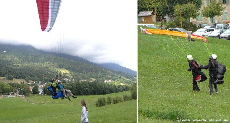 Paul and Estelle's paragliding landing