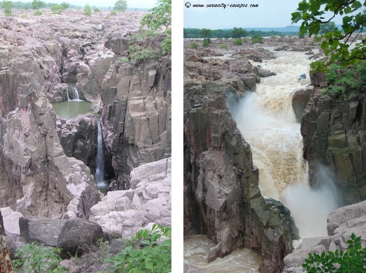 Raneh falls during high tourist season versus during monsoon