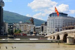 Macedonia Square, place principale de Skopje, Macédoine