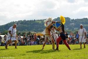 Dans l'action des combat de gladiateurs