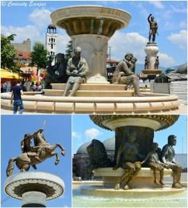 Statues - fontaines de la famille d'Alexandre Le Grand à Skopje