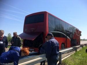 Bus en panne sur l'autoroute en Serbie