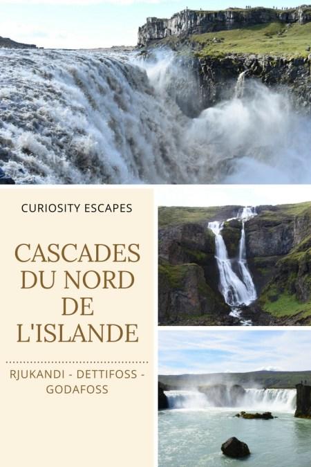 Cascades du nod de l'Islande: Dettifoss, Rjukandi, Godafoss