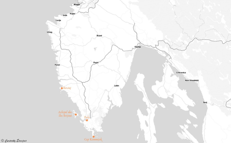 Carte de l'Istrie côté mer, Croatie