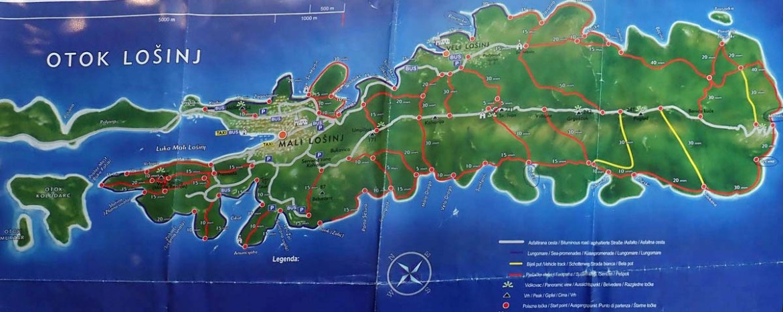 Carte des sentiers de l'île de Losinj, Croatie