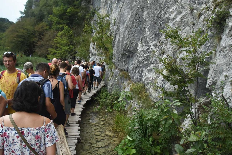 Embouteillage piéton au parc national de Plitvice