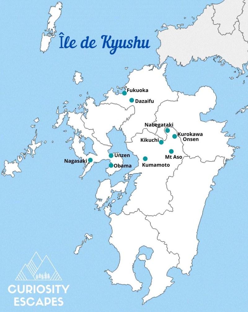 Itinéraire sur l'île de Kyushu au Japon