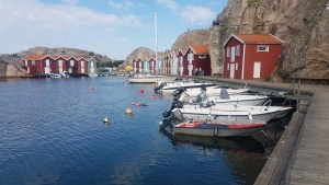 Petit port coloré de Smögen en Suède, dans le Bohuslän