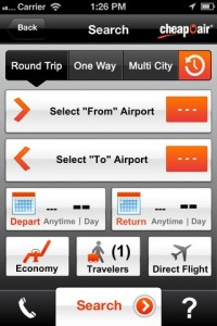 cheapoair mobile app layout