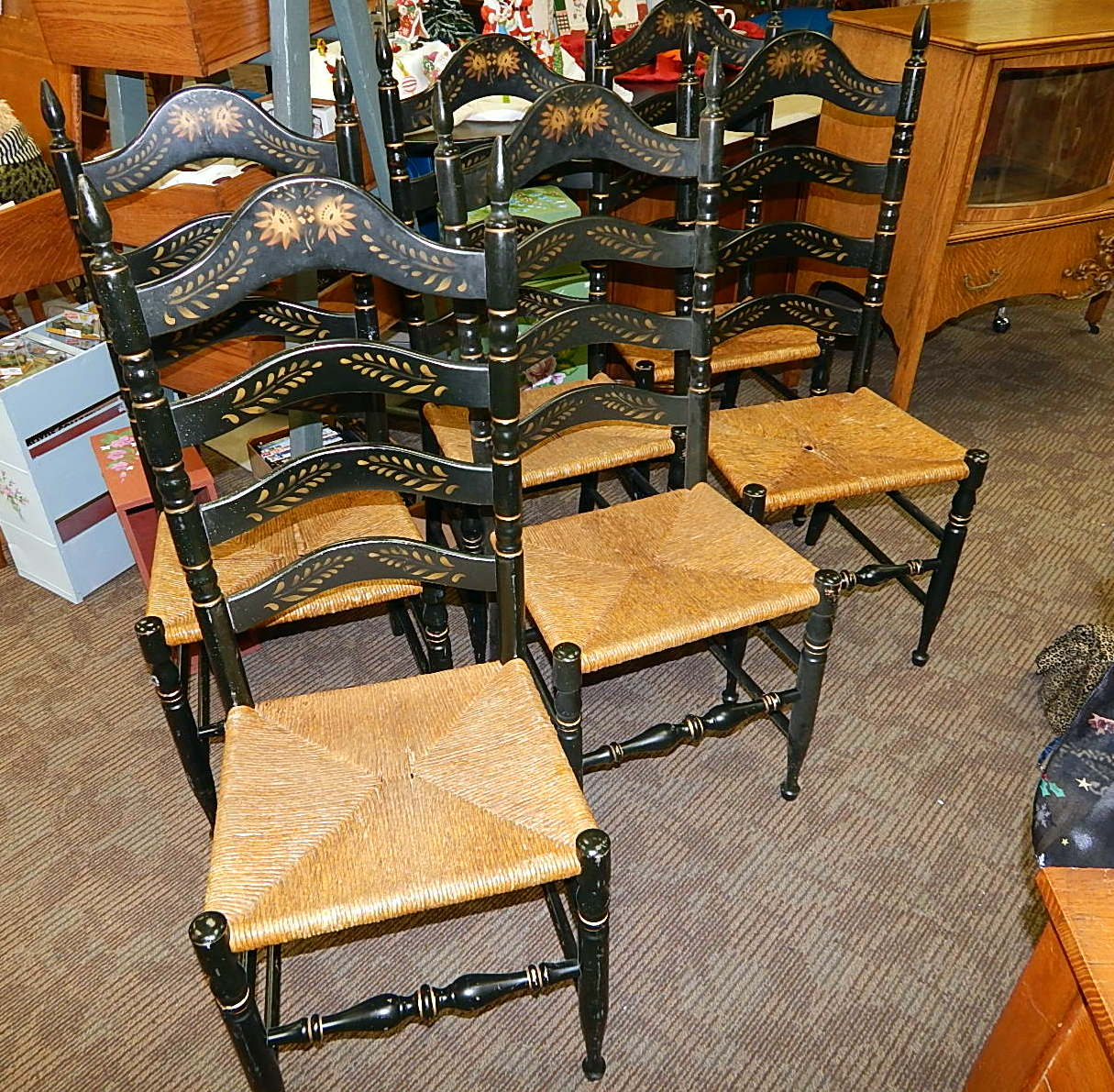 6 Hitchcock Black Harvest Rush Ladder Back Dining Chairs Curiosity Consignment