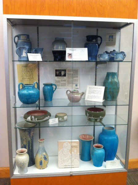 Pisgah Forest Pottery display at the Hendersonville Public Library
