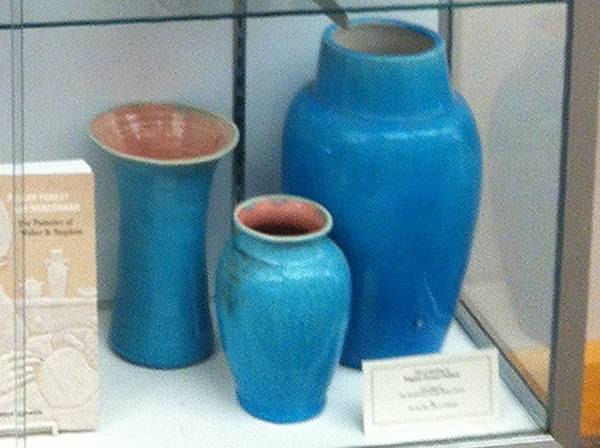 Brilliant Turquoise Blue glazed Vases from Pisgah Forest Pottery
