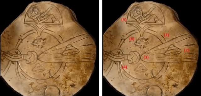 Os dois círculos no centro (1) são consideradas como um planeta e sua atmosfera, seria supostamente a Terra, devido à presença próxima do que parece ser a lua.  OVNI em (2), que parece estar na calda de um cometa (3). À esquerda, outro dispositivo (4), que parece agir diretamente sobre o cometa, como se fosse algo para detê-lo. Um astronauta (5) no controle de sua nave (6).