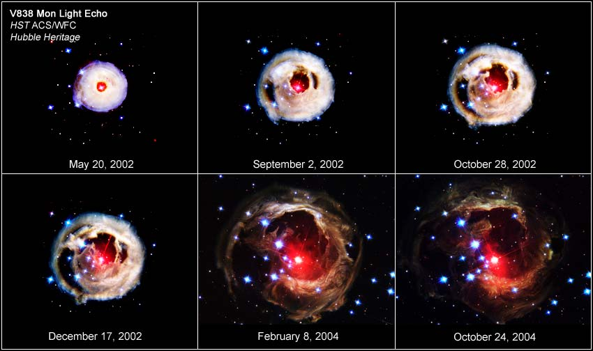 Sequência de imagens da variação da estrela