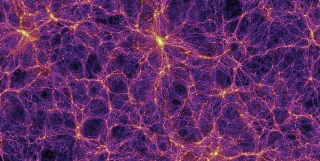 Uma simulação dos filamentos que conectam as galáxias.