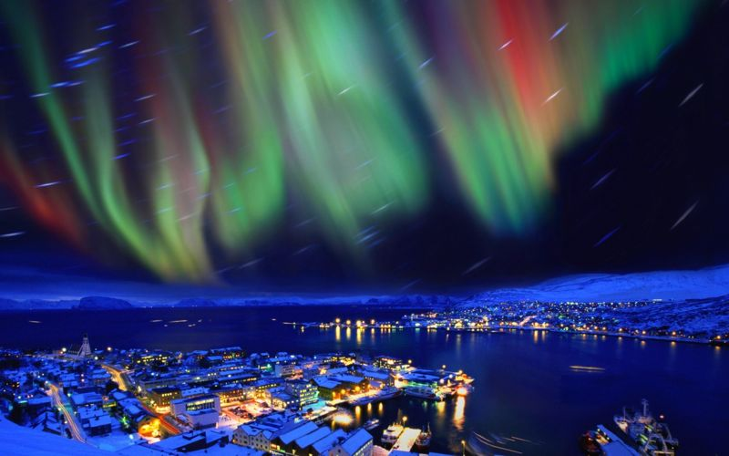 The aurora borealis in the skies over Hammerfest, Norway
