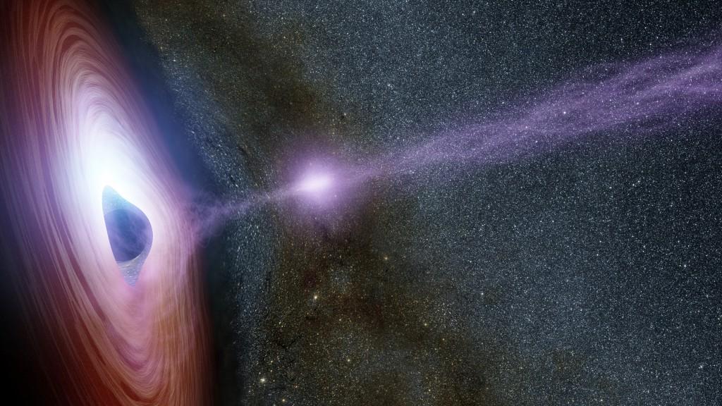 Concepção artística de um buraco negro supermassivo, rodeado por um disco giratório de material caindo sobre ele