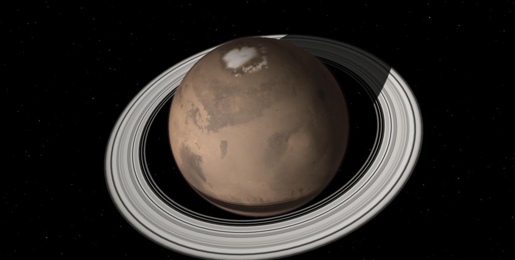 Como seriam anéis ao redor de Marte
