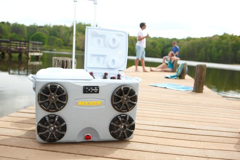 Cooler on the beach with speakers