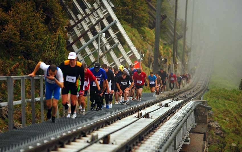 Climbing the world's longest staircase in Nieson Switzerland