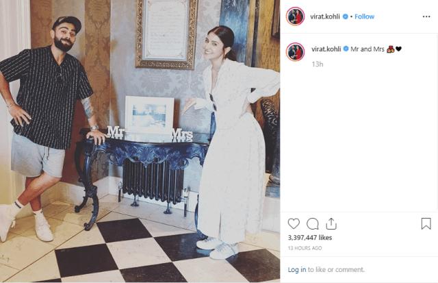 Anushka Sharma and Virat Kohli posing