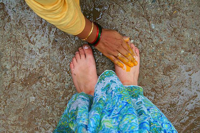 touching sister feet