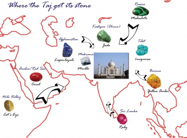 precious and semi-precious stones of taj mahal