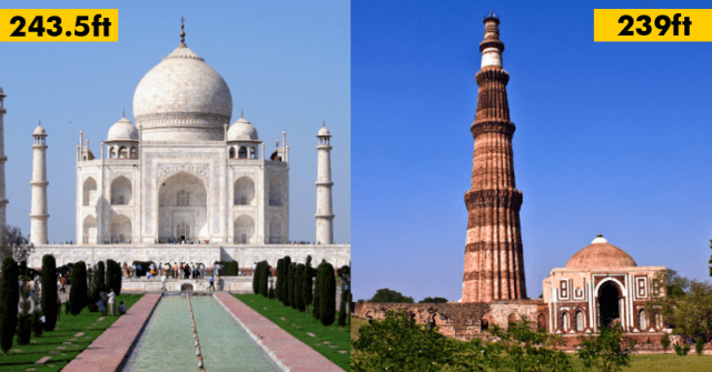taj mahal and qutab minar height comparison