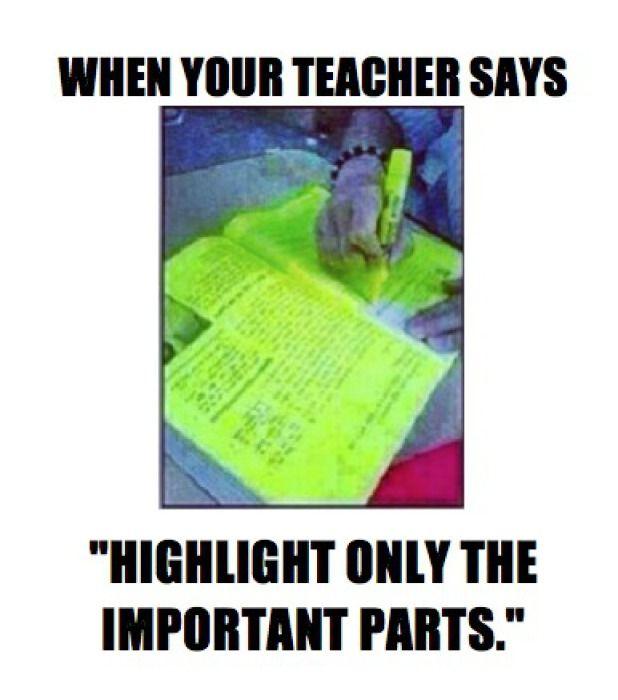 teacher asks to highlight