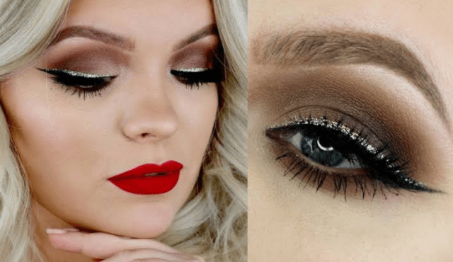 Shimmery Eyes with Bright Bold Red Lips Makeup Looks