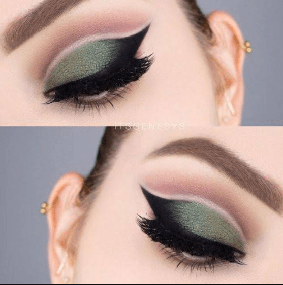 Dark Green Eye Lid  Make up Look