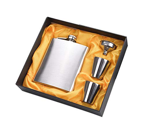 Menzy Easy Sip Stainless Steel Hip Flasks, Liquor or Wine Whiskey Alcohol Drinks Holder Pocket Bottle with Funnel and Two Shots Glasses Gift Set for Men - 7 Oz (210 ml) - Curiouskeeda