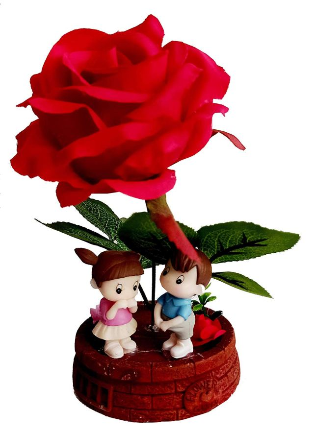 MM Cute Valentine Romantic Warm Night Valentine Love Couple Statue Showpiece for Boy Friend/Girl Friend-Valentine's Day Gift - Curiouskeeda valentine's day