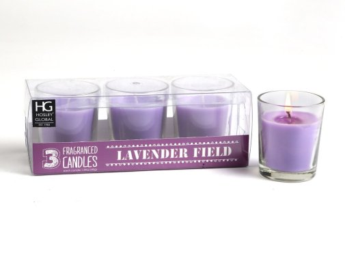 6| Hosley Highly Fragranced Lavender Fields Filled Glass Candles (Set of 3)