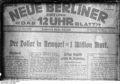 Inflación alemana, 1 dólar por 1 millón de marcos