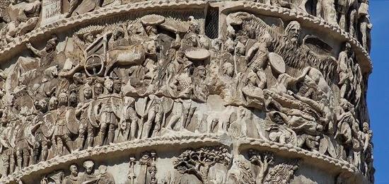 El milagro de la lluvia representado en la Columna de Marco Aurelio en Roma