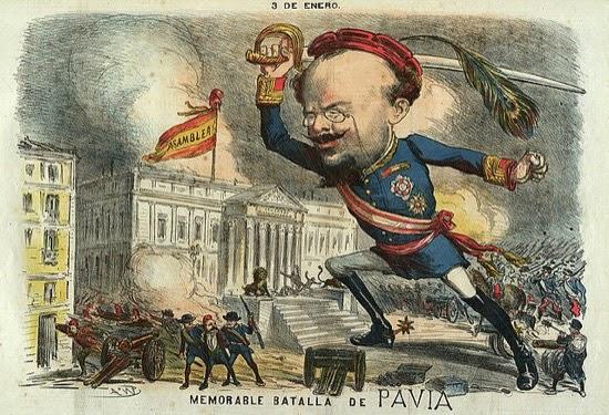 Caricatura de Pavía durante el golpe, en La Madeja Política, dibujo de Tomás Padró Pedret.