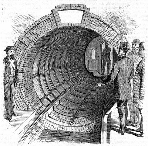 El antecesor del metro, en Nueva York en 1870