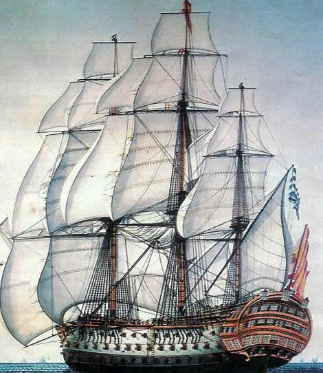 El navío Santísima Trinidad. Grabado del siglo XIX.